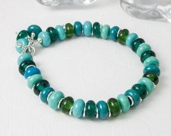 Teal Lampwork and Silver Bracelet