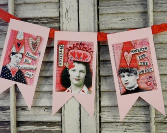 VALENTINE Banner Collage Sheet PDF -  hearts mixed media women art vintage saying old photos sayings aceo scrapbooking primitive digital