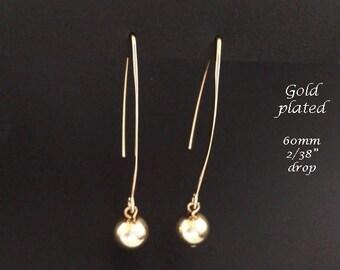 Gold Earrings: Gold Plated Finish Costume Earrings with Long Hooks | Dangle Earrings, Fashion Earrings, Long Drop Earrings, Gift Idea 294
