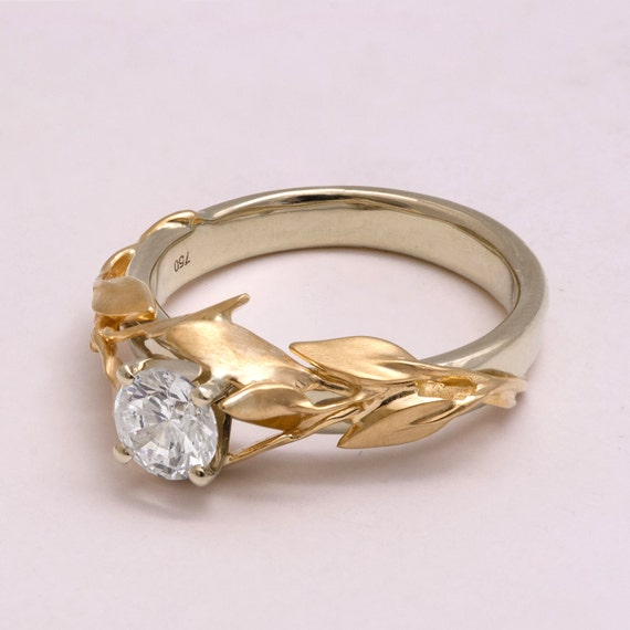 Two Tone Leaves Engagement Ring game of thrones jewelry