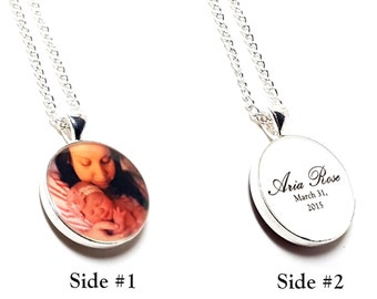 Custom Photo Double Sided Necklace. Personalize With a Photo, Quote, Names, Dates. Two Sided Photography Jewelry. Gifts For Mom. Pets. Baby.