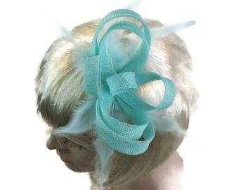 Mint Fascinator Mint Green Fascinator Feather fascinator Wedding Fascinator Mint Races Fascinator for races Kentucky Derby fascinator Hat