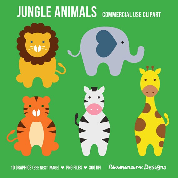 jungle animal clipart cute elephant lion giraffe tiger rh etsy com Elephant Clip Art Clip Art