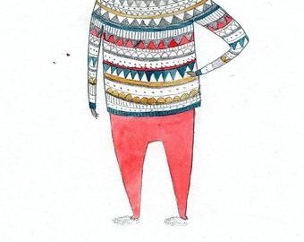 Art Print. 'Jumpers' Illustration.