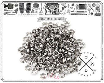 200pcs 3MM Hole Tiny SILVER Grommets Eyelets Self Backing for Bead Cores, Clothes, Leather, Canvas