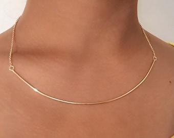 14k Rose Gold Bar Necklace, 14k Bar Necklace, 14k Layer Necklace, 14k Gold Bar Necklace, 14k Long Bar Necklace, 14k White Gold Bar Necklace