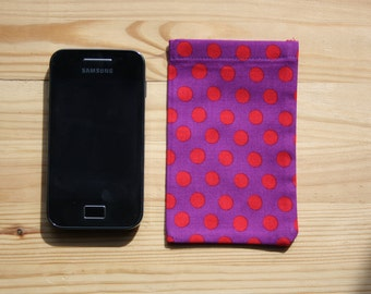 Smart Phone or iPod sleeve Purple with Red Dots