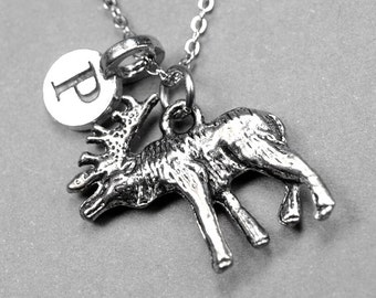 Moose Necklace, moose antlers charm, antiqued silver plated pewter, initial necklace, initial jewelry, personalized gift, monogram letter