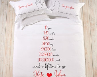 Hand painted Personalized bedding king queen size gift for boyfriend girlfriend 10 years cotton anniversary gift, wedding idea gift, bedding
