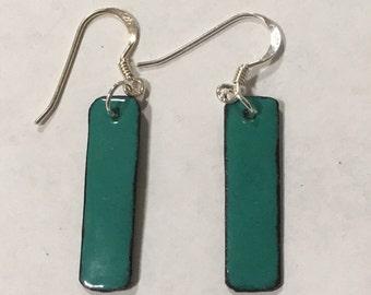 Enameled Rectangular Drop Earrings