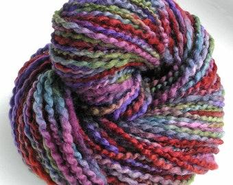 Handspun Yarn Hand Dyed Yarn BFL Wool Silk Super Bulky Art Yarn 169 yards Purple Burgundy Space Dyed Indie Yarn - Vineyard