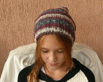 Multicolor Slouchy Hand Knit Hat Beanie Winter hat Fall Hat  Woman hat Girls hat Teenagers hat