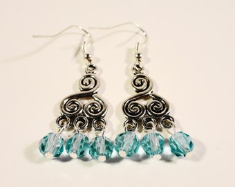 Silver Chandelier Earrings, Turquoise Blue Crystal Drop Earrings, Antique Silver Beadwork Earrings, Beaded Earrings, Women's Jewelry