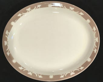 "Syracuse 11-1/2"" Diner Hotel Restaurant Ivory & Tan Nutmeg Pattern Platter in Excellent Condition"
