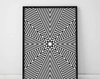 Modern stars print Abstract geometric poster Vertical wall art Optical illusion pattern Tribal wall decor black and white digital wall art