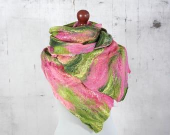 Wrap Scarf, Felted Scarf,  Felted Shawl, Cobweb,  merino wool,  wool scarf  -Feltmondo