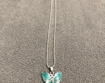 Teal Butterfly Pendant on Silver Necklace