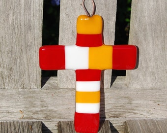 Wall Cross Fused Glass FSU Florida State Colors - Garnet and Gold - Christian Gift - Seminoles