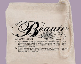 """Definition """"Beauty"""" Typography Cosmetics Bag Mini Tote  - other image colors available"""