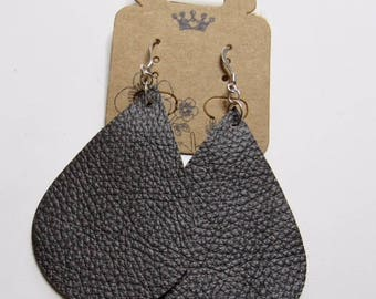 Gray genuine leather teardrop earrings