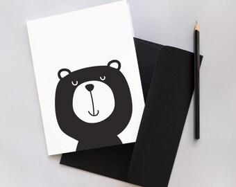 Monochrome Bear Greeting Card