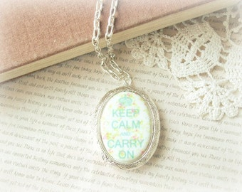 ON SALE  Silver Keep Calm & Carry On Locket