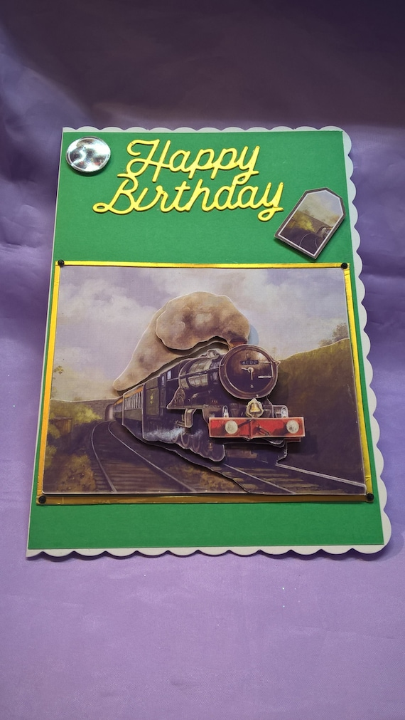 Steam Train Enthusiasts Birthday Card With A 3d Imagea Name