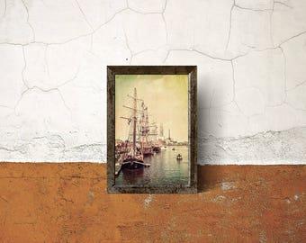 Tall Ships Docked, Large Wall Art Print, Nautical Decor, Ship Art, Sailing Decor, Home Decor, Nautical Art