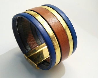 indigo gold leather cuff and whiskey with clasp gold
