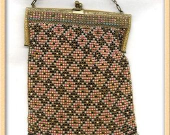 Art Deco Enamel metal mesh handbag. hbad098cn(e)