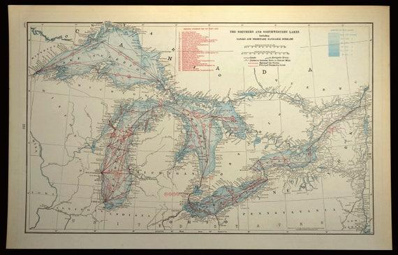 Great Lakes Map LARGE Blue Lake Michigan Huron Erie Superior