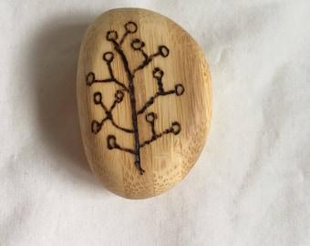 bamboo pebbles woodburned BE