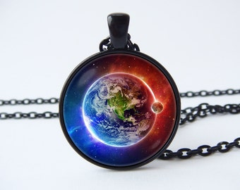 Earth and moon necklace Space pendant Earth jewelry Moon jewellery Planet necklace Outer space necklace Galaxy jewelry Solar system Universe