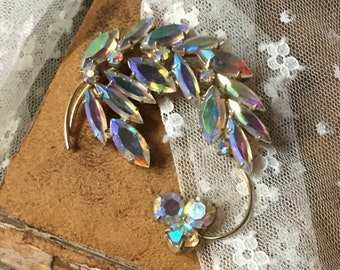 Sparkling AB Rhinestone Floral Spray Brooch Pin Unsigned 1960's 1970's Gold Tone Metal Stylized Leaves AB Finish Clear Crystals Feminine