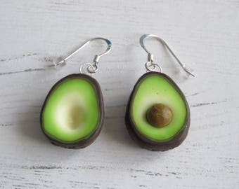 Avocado Earrings. Sterling Silver And Polymer Clay.