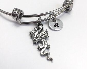 Dragon charm Bangle bracelet. Silver dragon charm bracelet . Personalized hand stamped initial bracelet.