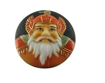 Toshikane BISHAMONTEN Button/ 7 Fortune gods Arita Porcelain /Seven Lucky gods 七福神 Shichi Fukujin / Seven Immortal gods / Feng Shui Dignity