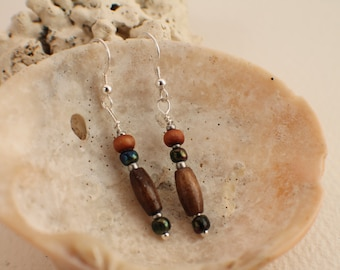 Recycled Mixed Bead and Silver Earrings