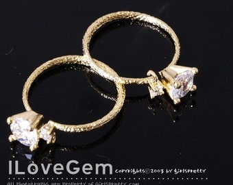 SALE/5pcs / R123, Gold plated, 2 Cubic Adjustable Ring, Cubic Ring, CZ Ring