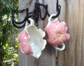 VINTAGE POTTERY...sugar cream set ~ breakfast treat ~ wedding~ thanksgiving~ pink white ceramic