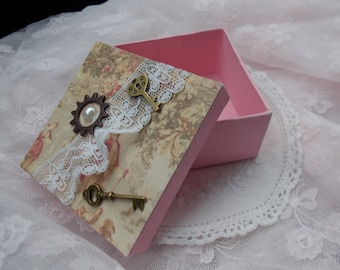 Shabby Chic Paper Mache Box, Handmade, Lace, Brass Keys