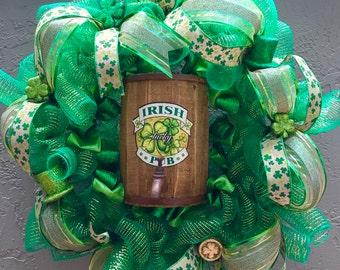 St. Patrick's Day Wreath, St. Patrick's Day, St. Patrick's Wreath, Irish Clover Wreath, Shamrock Wreath, Door Decoration, Front Door Wreath