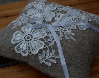 Natural Grey Linen Wedding Pillow With Flower Lace - Ring Bearer Pillow - Wedding Ring Pillow