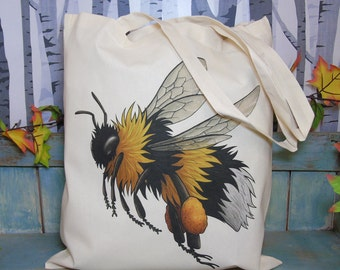 Bumblebee Illustration Eco Tote Bag ~ 100% Cotton Long Handles
