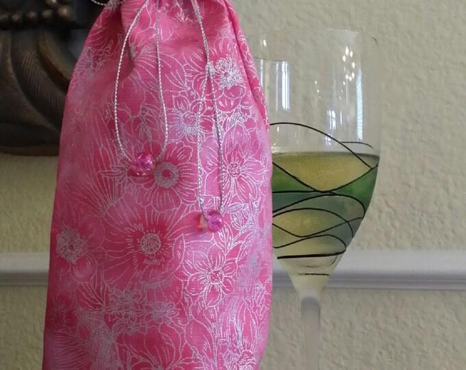 Wine Bag-Gourmet-Glitter Collection (Pink n' Sliver n' Floral Swirl)