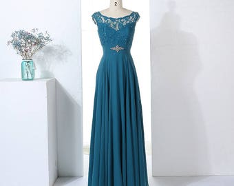 Lace Top Bodice with Sequinned Illusion Sweetheart Detail Long Chiffon Bridesmaid Dress with Jewelled Waist Embellishment