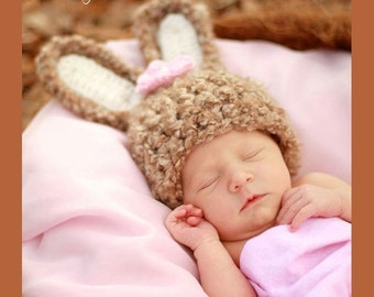Crochet Baby Bunny Hat - Easter Hat - Soft and Fluffy Cafe Brown and Flower Clip