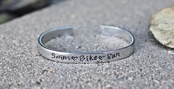 Tri Bracelet, Gift for Triathlon, Triathlon Bracelet, swim bike run Cuff, Tri Bangle Cuff, Swim Bike Run Bangle Cuff, Swim Bike Run Bangle