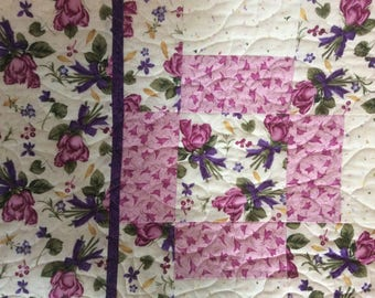 Purple Bed Quilt.Bouquet Patchwork Bed Quilt.Gift.Pink Quilt.Bedding.Handmade Quilt.Rose Quilt.Spring Time.Home Decor.