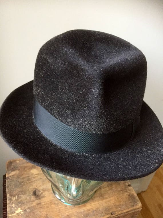 Royal Stetson/Vintage/cashmere/hat/black/gray/made in England/1940s
